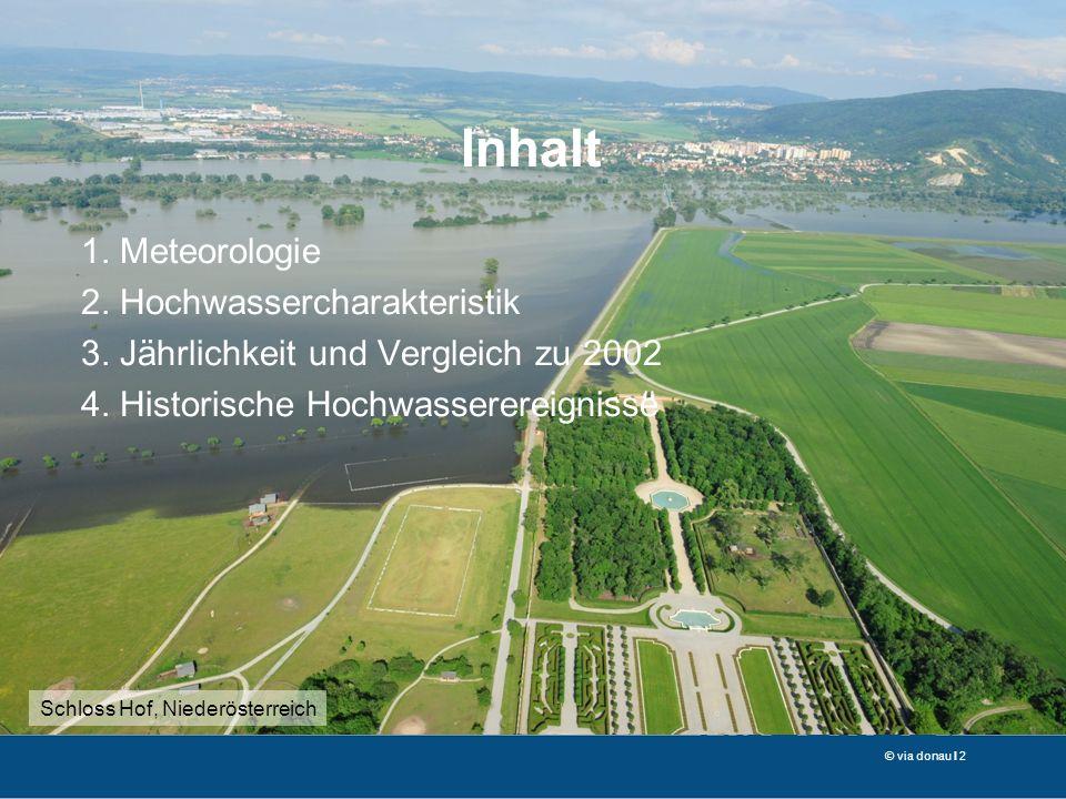 © via donau I 2 1. Meteorologie 2. Hochwassercharakteristik 3. Jährlichkeit und Vergleich zu 2002 4. Historische Hochwasserereignisse Inhalt Schloss H