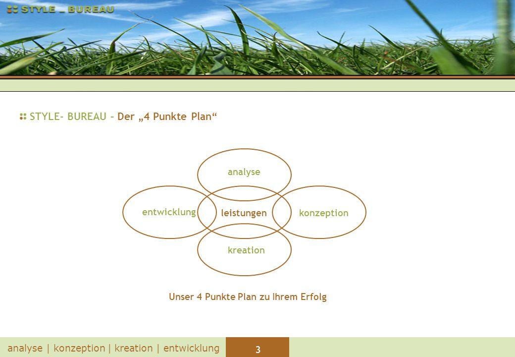 4 analyse   konzeption   kreation   entwicklung STYLE- BUREAU – analyse Beratung Erarbeitung von Strategie, Zielen und Lösungsansätzen Projektdefinition Festlegen von Umfang, Ablauf und Kosten Analyse der derzeitigen Gegebenheiten/Infrastruktur
