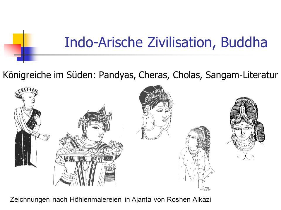 Indo-Arische Zivilisation, Buddha Königreiche im Süden: Pandyas, Cheras, Cholas, Sangam-Literatur Zeichnungen nach Höhlenmalereien in Ajanta von Roshe