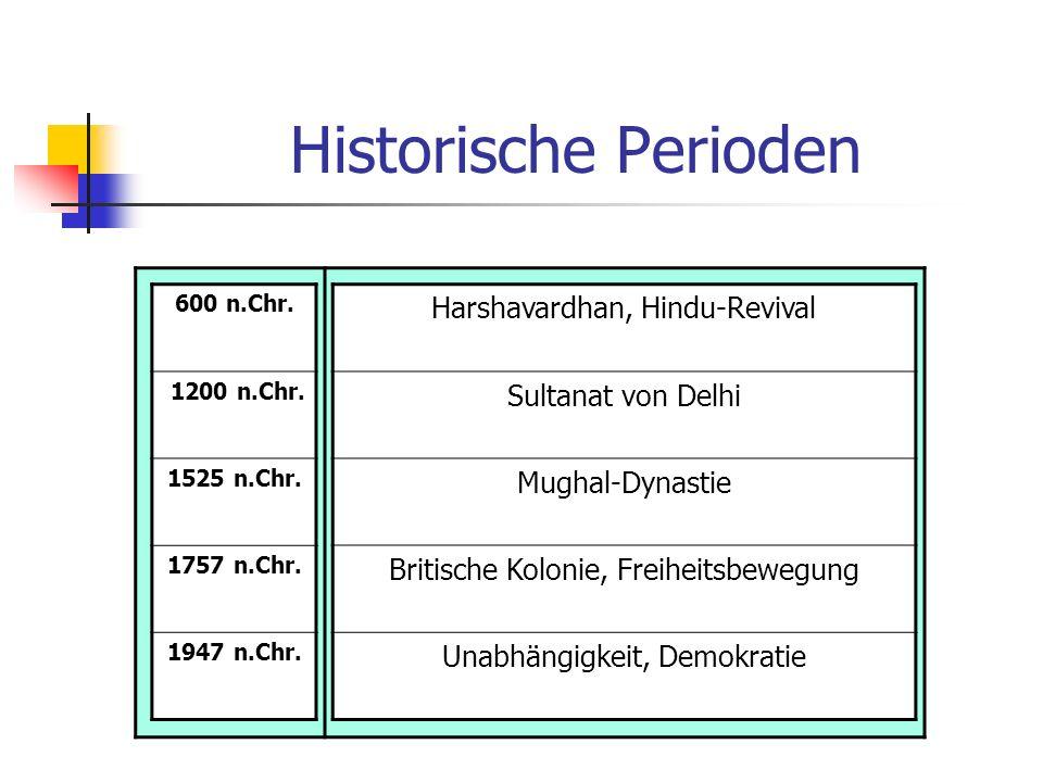 Historische Perioden 600 n.Chr. 1200 n.Chr. 1525 n.Chr. 1757 n.Chr. 1947 n.Chr. Harshavardhan, Hindu-Revival Sultanat von Delhi Mughal-Dynastie Britis