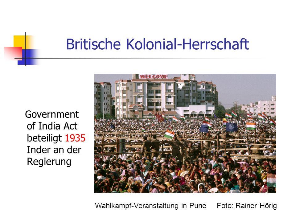 Britische Kolonial-Herrschaft Government of India Act beteiligt 1935 Inder an der Regierung Wahlkampf-Veranstaltung in Pune Foto: Rainer Hörig