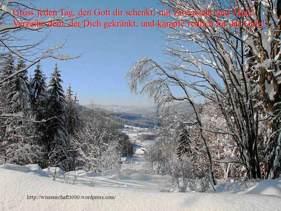 http://wissenschaft3000.wordpress.com/ Grüss jeden Tag, den Gott dir schenkt, mit Zuversicht und Mute.