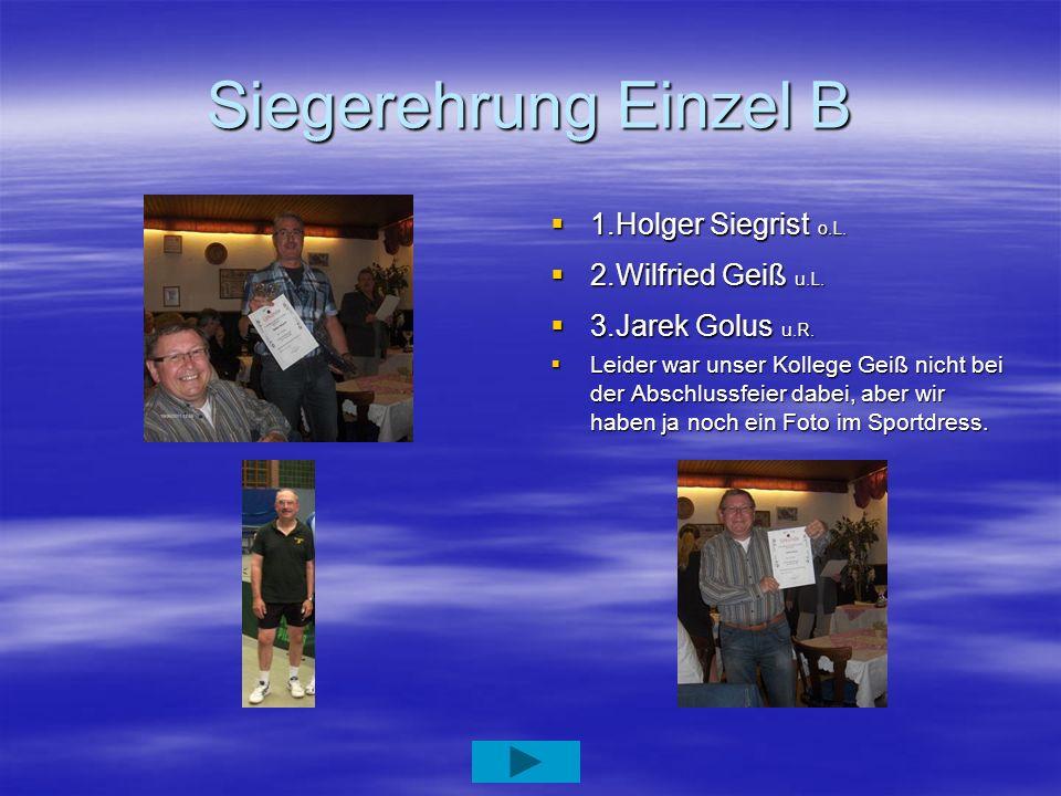 Siegerehrung Einzel B 1.Holger Siegrist o.L. 1.Holger Siegrist o.L. 2.Wilfried Geiß u.L. 2.Wilfried Geiß u.L. 3.Jarek Golus u.R. 3.Jarek Golus u.R. Le