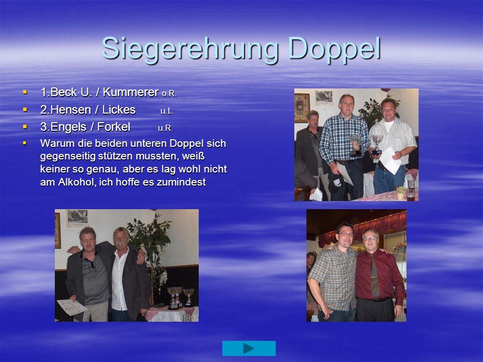 Siegerehrung Doppel 1.Beck U. / Kummerer o.R. 1.Beck U. / Kummerer o.R. 2.Hensen / Lickes u.L. 2.Hensen / Lickes u.L. 3.Engels / Forkel u.R. 3.Engels