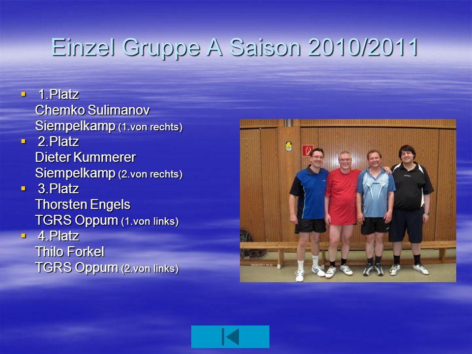 Doppel Gruppe A / B 1.Platz Ulrich Beck / Dieter Kummerer Siempelkamp (3+4.von rechts) 2.Platz Hans Dieter Hensen / Helmut Lickes Komba (1+2.von links) 3.Platz Thorsten Engels / Thilo Forkel TGRS Oppum (1+2.von rechts) 4.Platz Wilfried Geiß / Hartmut Haid TTF Nord (4+3.von links)
