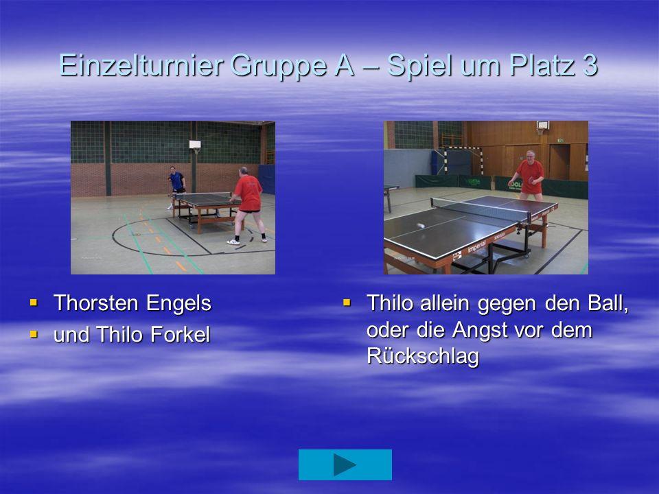 Einzelturnier Gruppe A – Spiel um Platz 3 Thorsten Engels Thorsten Engels und Thilo Forkel und Thilo Forkel Thilo allein gegen den Ball, oder die Angs