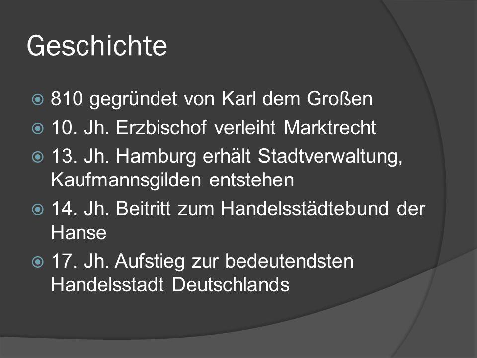Geschichte 810 gegründet von Karl dem Großen 10. Jh. Erzbischof verleiht Marktrecht 13. Jh. Hamburg erhält Stadtverwaltung, Kaufmannsgilden entstehen