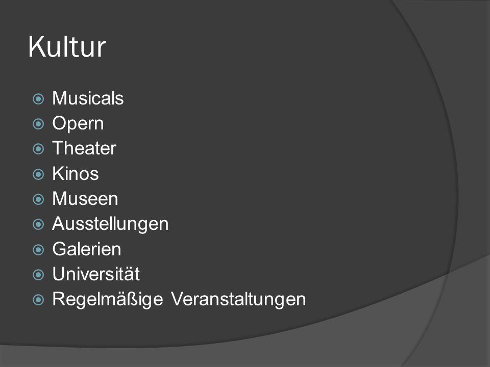 Kultur Musicals Opern Theater Kinos Museen Ausstellungen Galerien Universität Regelmäßige Veranstaltungen