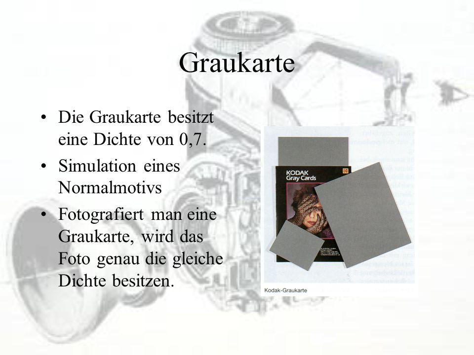 Graukarte Die Graukarte besitzt eine Dichte von 0,7. Simulation eines Normalmotivs Fotografiert man eine Graukarte, wird das Foto genau die gleiche Di