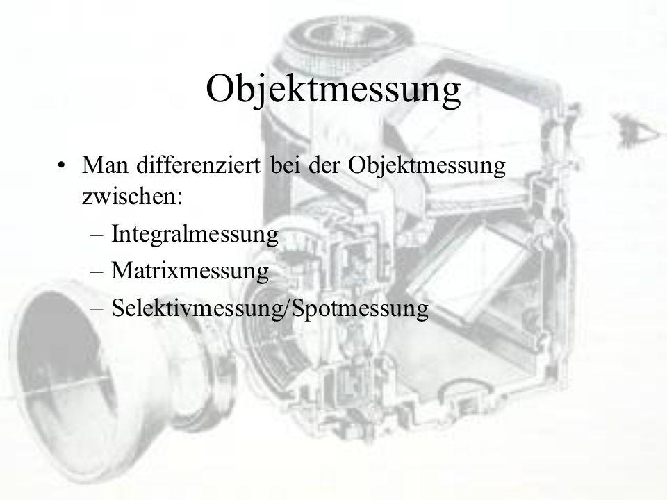 Objektmessung Man differenziert bei der Objektmessung zwischen: –Integralmessung –Matrixmessung –Selektivmessung/Spotmessung