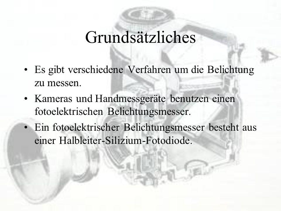 Grundsätzliches Es gibt verschiedene Verfahren um die Belichtung zu messen. Kameras und Handmessgeräte benutzen einen fotoelektrischen Belichtungsmess