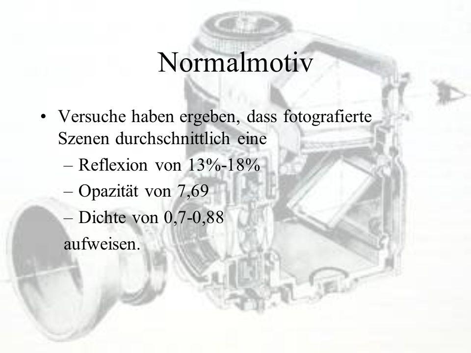 Normalmotiv Versuche haben ergeben, dass fotografierte Szenen durchschnittlich eine –Reflexion von 13%-18% –Opazität von 7,69 –Dichte von 0,7-0,88 auf