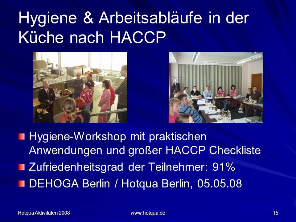 Hotqua Aktivitäten 2008 www.hotqua.de 15 Hygiene & Arbeitsabläufe in der Küche nach HACCP Hygiene-Workshop mit praktischen Anwendungen und großer HACC