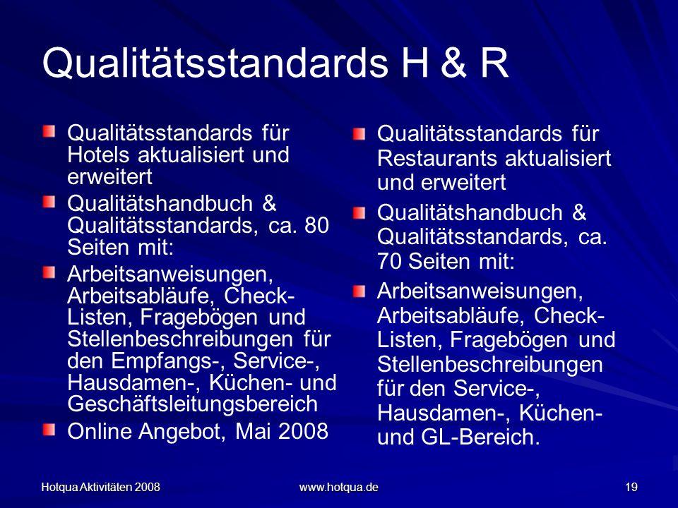 Hotqua Aktivitäten 2008 www.hotqua.de 19 Qualitätsstandards H & R Qualitätsstandards für Hotels aktualisiert und erweitert Qualitätshandbuch & Qualitä