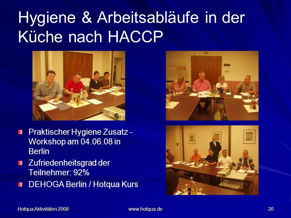 Hotqua Aktivitäten 2008 www.hotqua.de 20 Hygiene & Arbeitsabläufe in der Küche nach HACCP Praktischer Hygiene Zusatz - Workshop am 04.06.08 in Berlin
