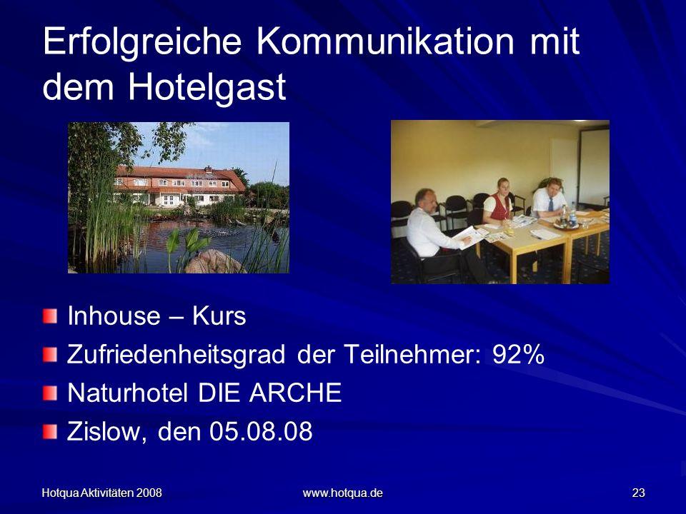 Hotqua Aktivitäten 2008 www.hotqua.de 23 Erfolgreiche Kommunikation mit dem Hotelgast Inhouse – Kurs Zufriedenheitsgrad der Teilnehmer: 92% Naturhotel