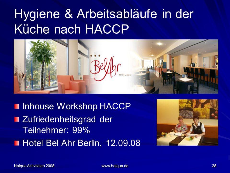 Hotqua Aktivitäten 2008 www.hotqua.de 28 Hygiene & Arbeitsabläufe in der Küche nach HACCP Inhouse Workshop HACCP Zufriedenheitsgrad der Teilnehmer: 99