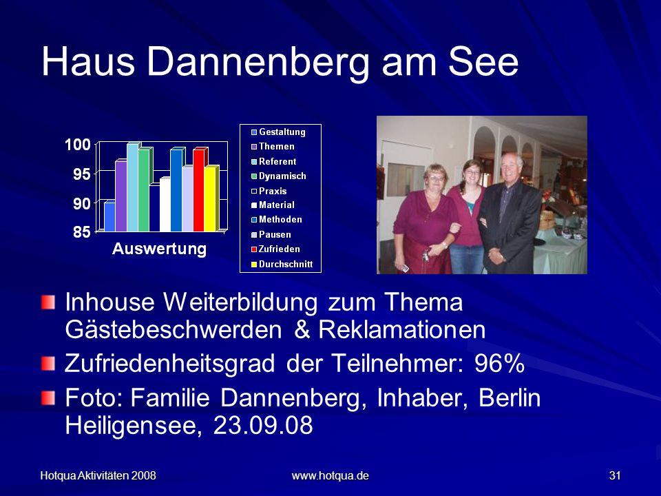 Hotqua Aktivitäten 2008 www.hotqua.de 31 Haus Dannenberg am See Inhouse Weiterbildung zum Thema Gästebeschwerden & Reklamationen Zufriedenheitsgrad de