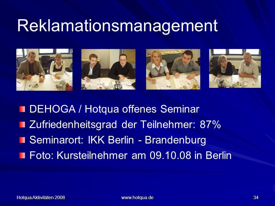 Hotqua Aktivitäten 2008 www.hotqua.de 34 Reklamationsmanagement DEHOGA / Hotqua offenes Seminar Zufriedenheitsgrad der Teilnehmer: 87% Seminarort: IKK