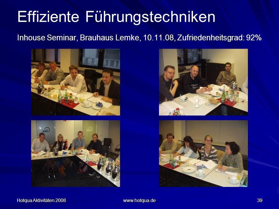 Hotqua Aktivitäten 2008 www.hotqua.de 39 Effiziente Führungstechniken Inhouse Seminar, Brauhaus Lemke, 10.11.08, Zufriedenheitsgrad: 92%