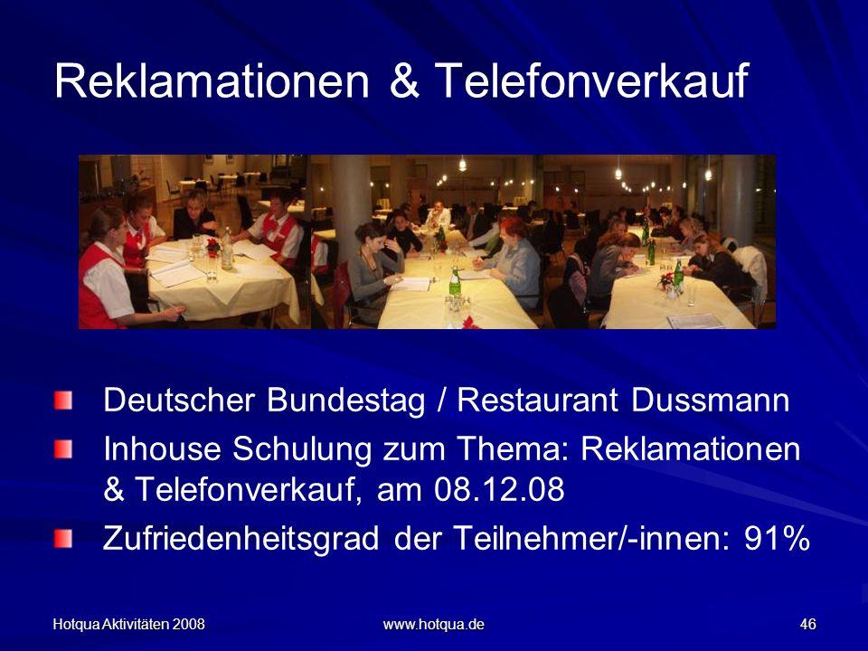 Hotqua Aktivitäten 2008 www.hotqua.de 46 Reklamationen & Telefonverkauf Deutscher Bundestag / Restaurant Dussmann Inhouse Schulung zum Thema: Reklamat