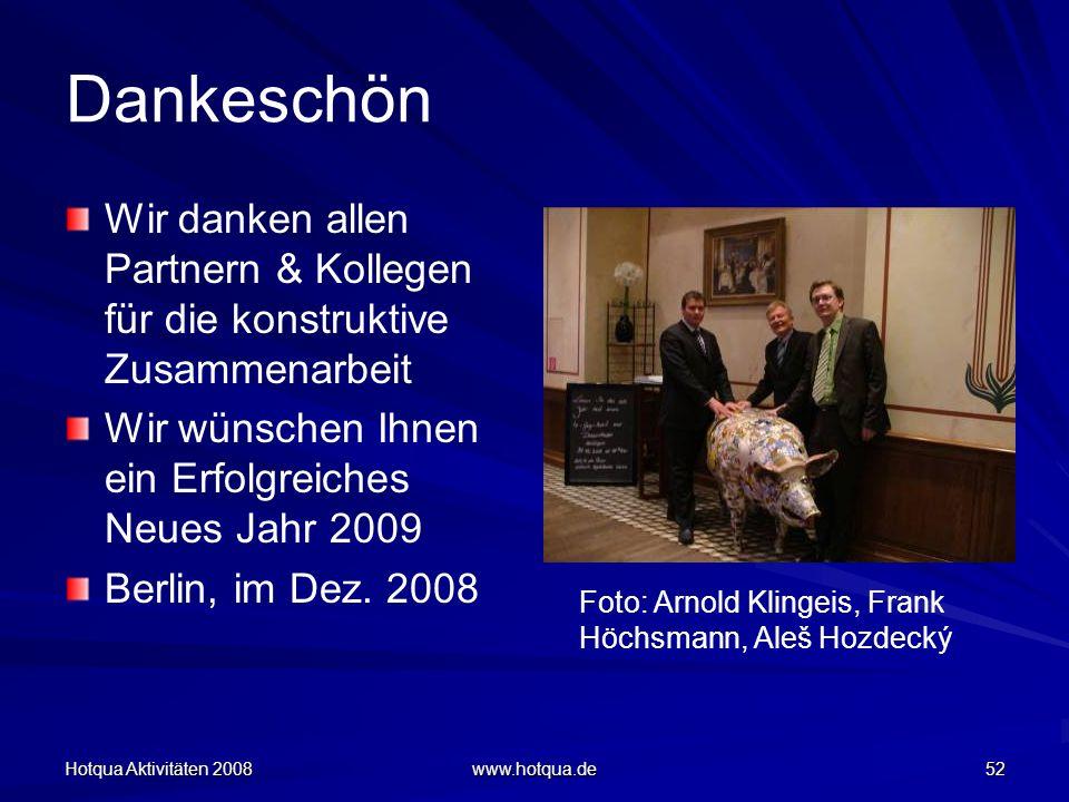 Hotqua Aktivitäten 2008 www.hotqua.de 52 Dankeschön Wir danken allen Partnern & Kollegen für die konstruktive Zusammenarbeit Wir wünschen Ihnen ein Er