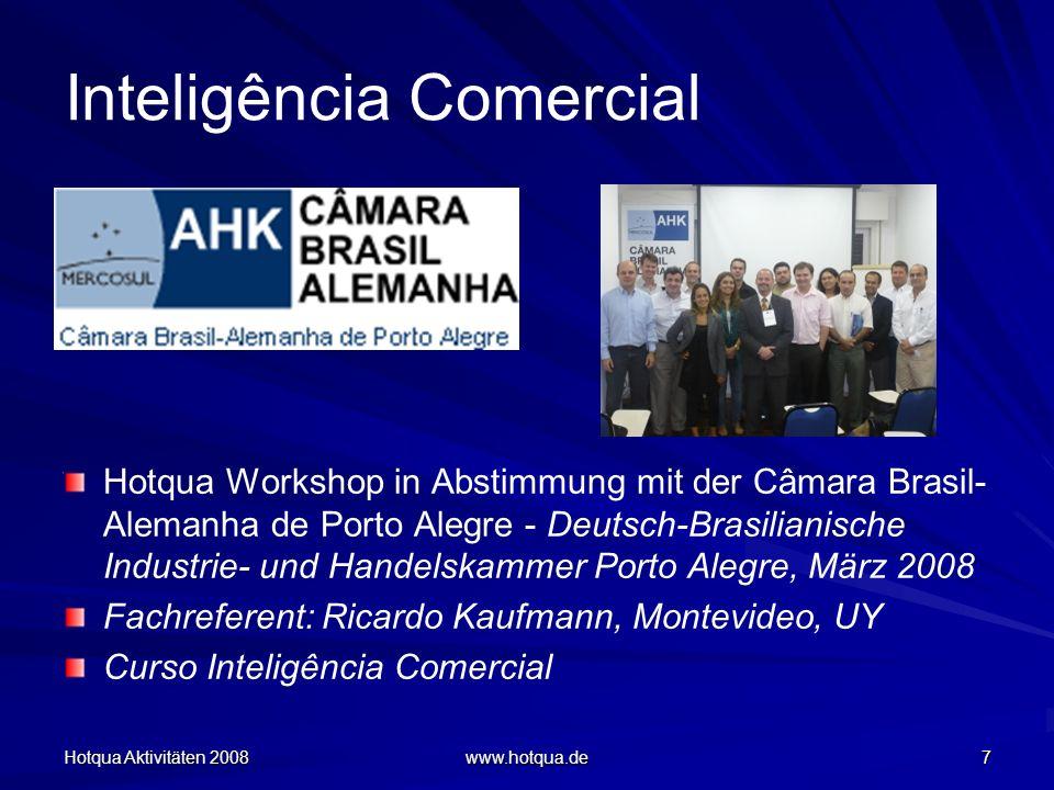 Hotqua Aktivitäten 2008 www.hotqua.de 7 Inteligência Comercial Hotqua Workshop in Abstimmung mit der Câmara Brasil- Alemanha de Porto Alegre - Deutsch