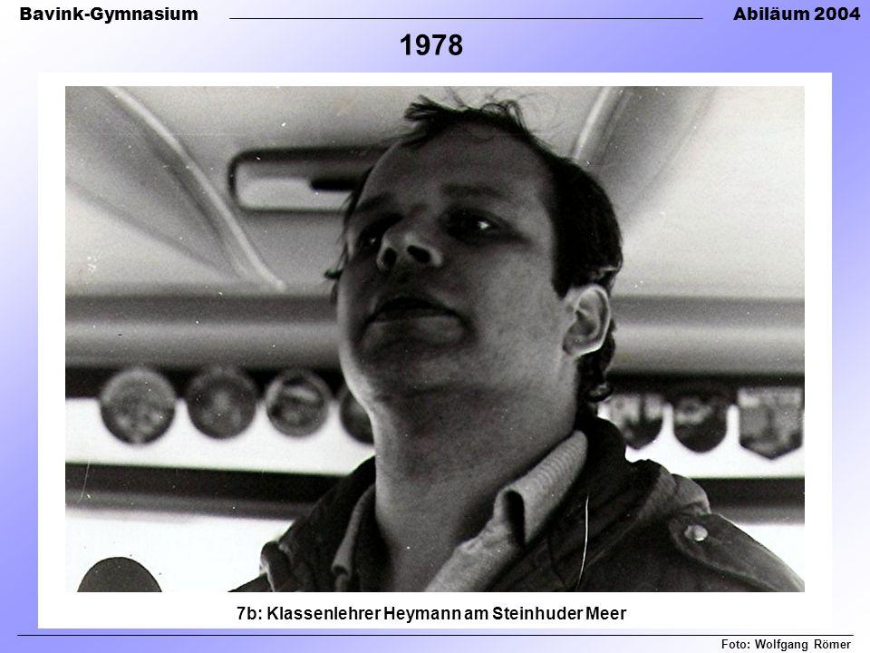 Bavink-GymnasiumAbiläum 2004 7b: Klassenlehrer Heymann am Steinhuder Meer Foto: Wolfgang Römer 1978
