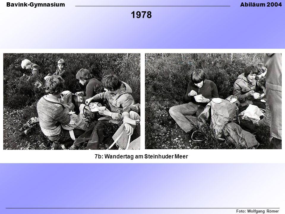 Bavink-GymnasiumAbiläum 2004 7b: Wandertag am Steinhuder Meer Foto: Wolfgang Römer 1978