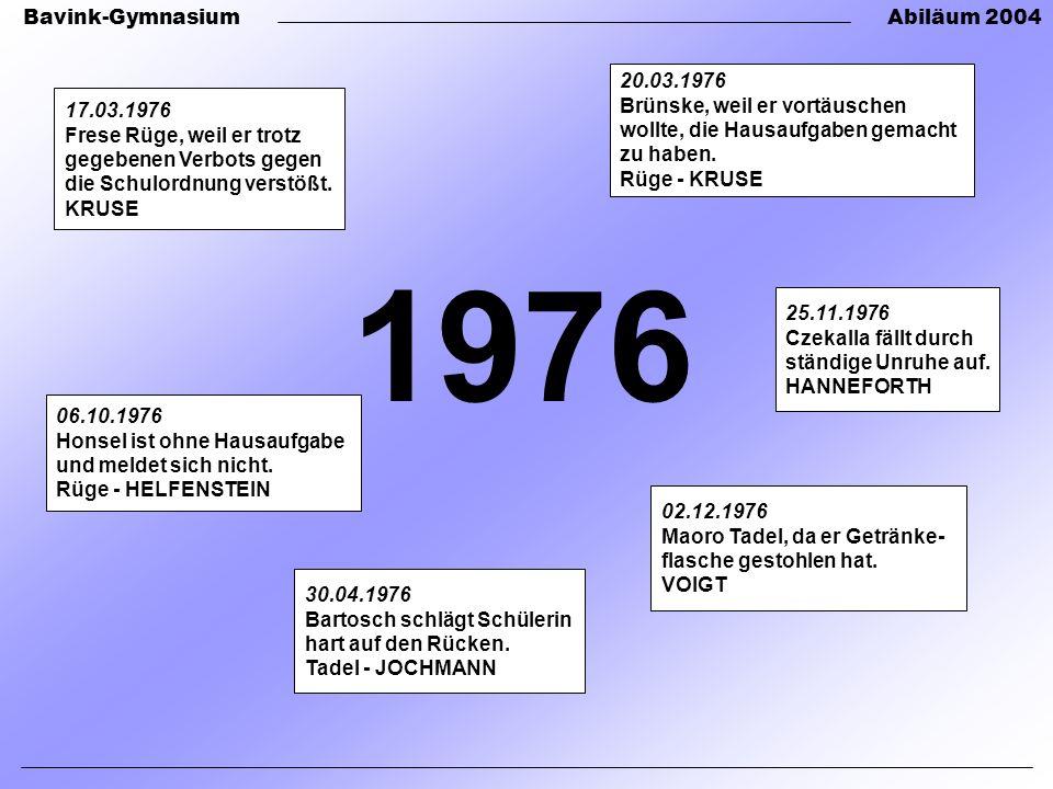 Bavink-GymnasiumAbiläum 2004 1976 30.04.1976 Bartosch schlägt Schülerin hart auf den Rücken.