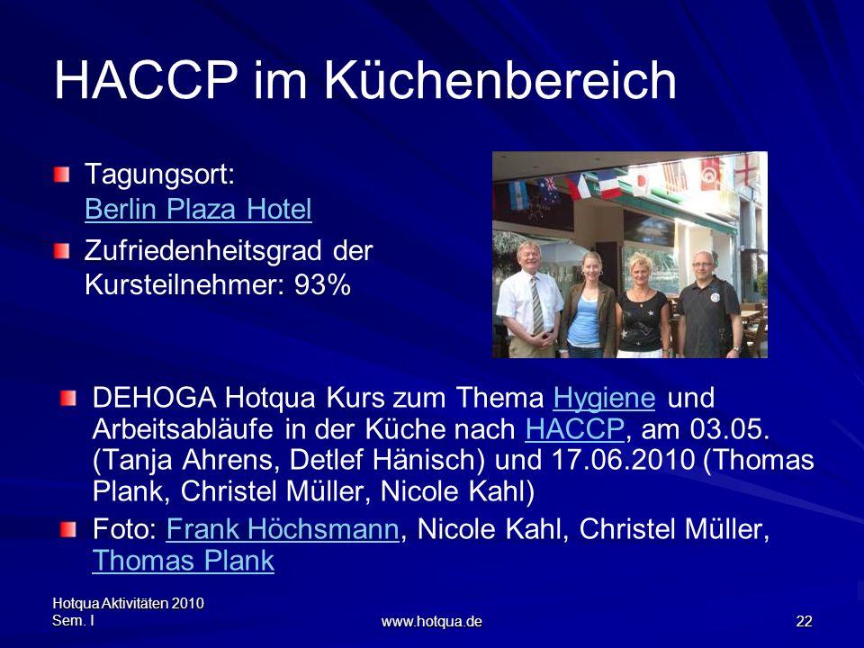 Hotqua Aktivitäten 2010 Sem. I www.hotqua.de 22 HACCP im Küchenbereich Tagungsort: Berlin Plaza Hotel Berlin Plaza Hotel Zufriedenheitsgrad der Kurste