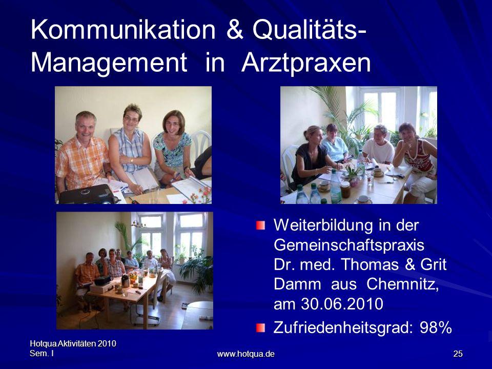 Hotqua Aktivitäten 2010 Sem. I www.hotqua.de 25 Kommunikation & Qualitäts- Management in Arztpraxen Weiterbildung in der Gemeinschaftspraxis Dr. med.
