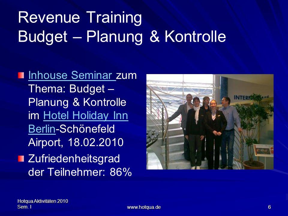 Hotqua Aktivitäten 2010 Sem. I www.hotqua.de 6 Revenue Training Budget – Planung & Kontrolle Inhouse Seminar Inhouse Seminar zum Thema: Budget – Planu