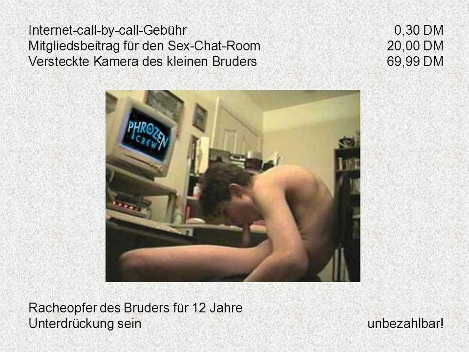 Internet-call-by-call-Gebühr0,30 DM Mitgliedsbeitrag für den Sex-Chat-Room20,00 DM Versteckte Kamera des kleinen Bruders69,99 DM Racheopfer des Bruder