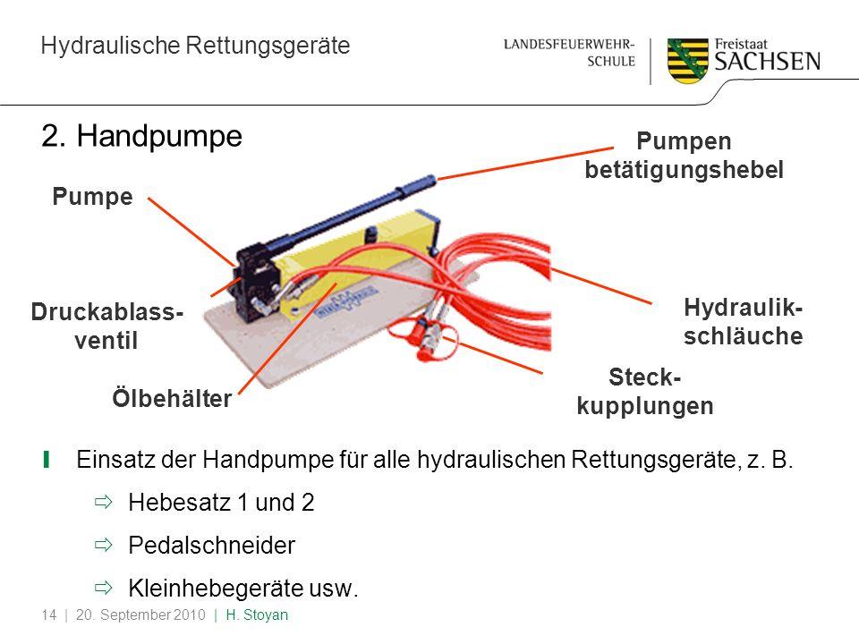 Hydraulische Rettungsgeräte | 20. September 2010 | H. Stoyan14 2. Handpumpe Einsatz der Handpumpe für alle hydraulischen Rettungsgeräte, z. B. Hebesat
