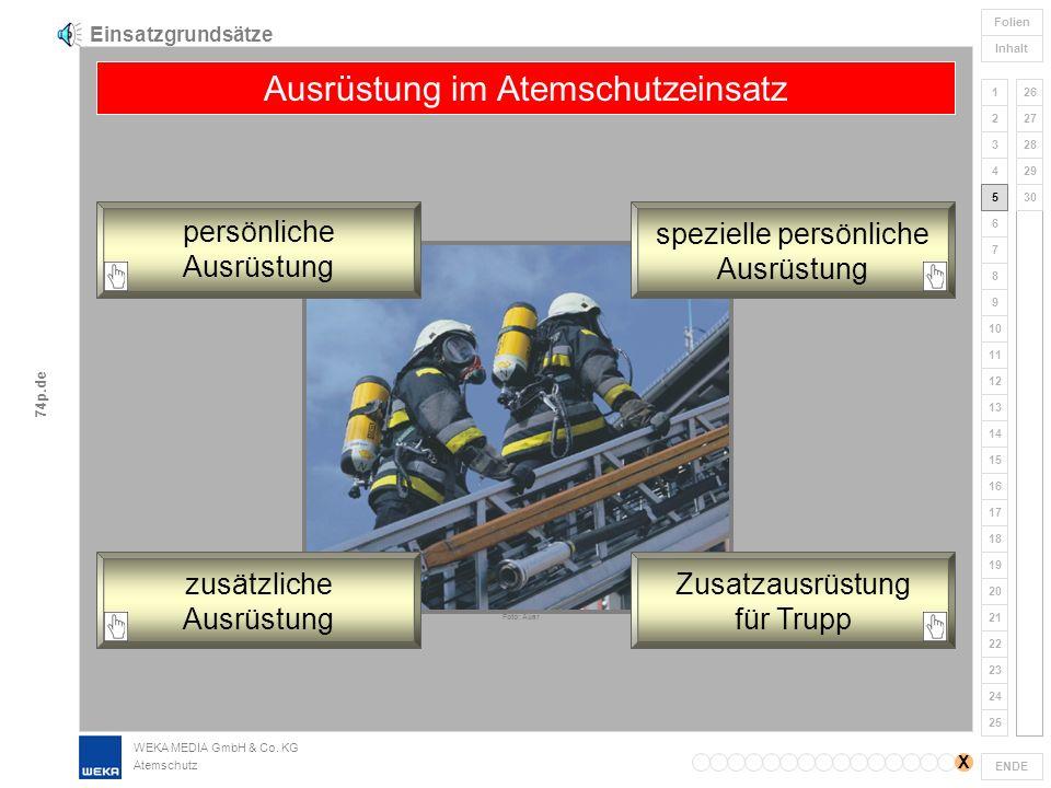 WEKA MEDIA GmbH & Co. KG Atemschutz 1 2 3 4 5 6 7 8 9 ENDE 10 11 12 17 18 19 20 21 22 23 24 25 26 27 28 13 14 15 16 Folien Inhalt 29 30 74p.de Einsatz