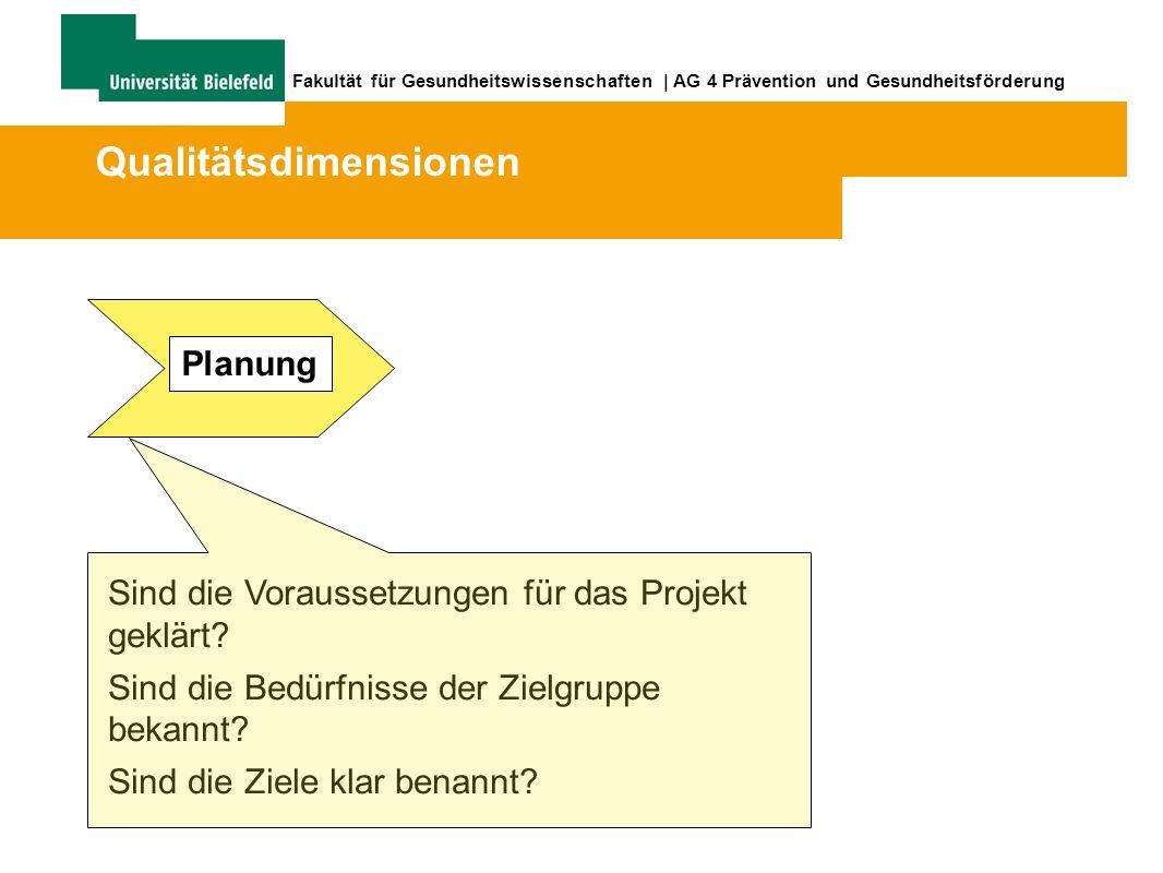 Fakultät für Gesundheitswissenschaften | AG 4 Prävention und Gesundheitsförderung Sind die Voraussetzungen für das Projekt geklärt.