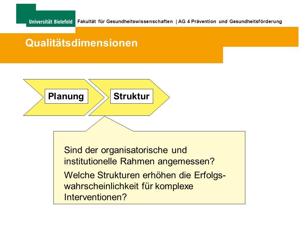 Fakultät für Gesundheitswissenschaften | AG 4 Prävention und Gesundheitsförderung Struktur Sind der organisatorische und institutionelle Rahmen angemessen.