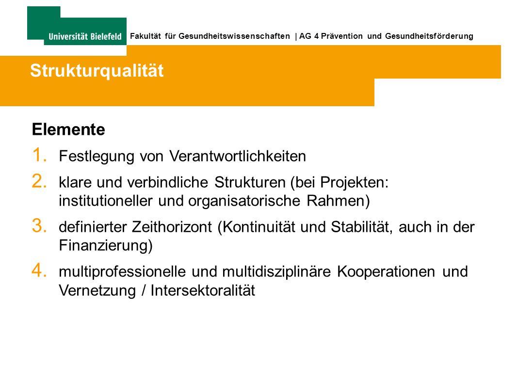 Fakultät für Gesundheitswissenschaften | AG 4 Prävention und Gesundheitsförderung Elemente 1.