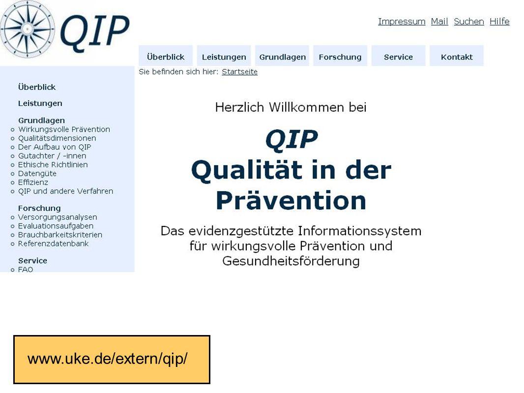 Fakultät für Gesundheitswissenschaften | AG 4 Prävention und Gesundheitsförderung www.uke.de/extern/qip/