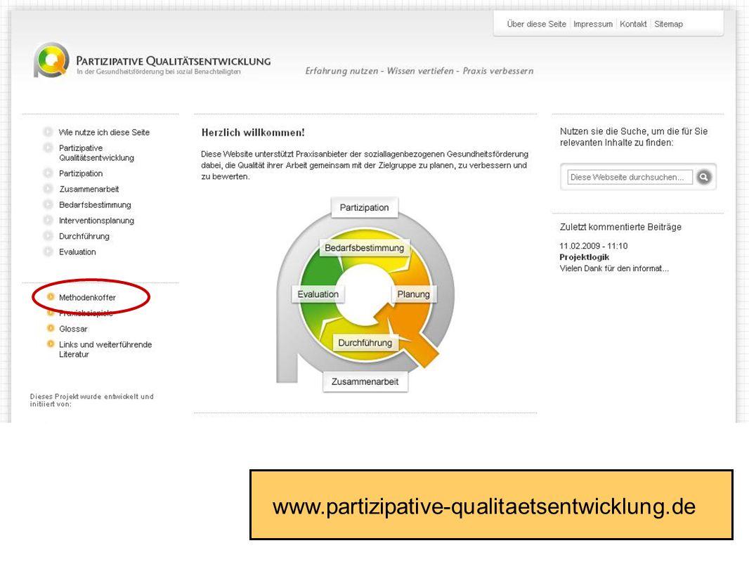 Fakultät für Gesundheitswissenschaften | AG 4 Prävention und Gesundheitsförderung www.partizipative-qualitaetsentwicklung.de