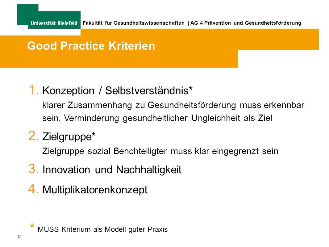 31 Fakultät für Gesundheitswissenschaften | AG 4 Prävention und Gesundheitsförderung 1.