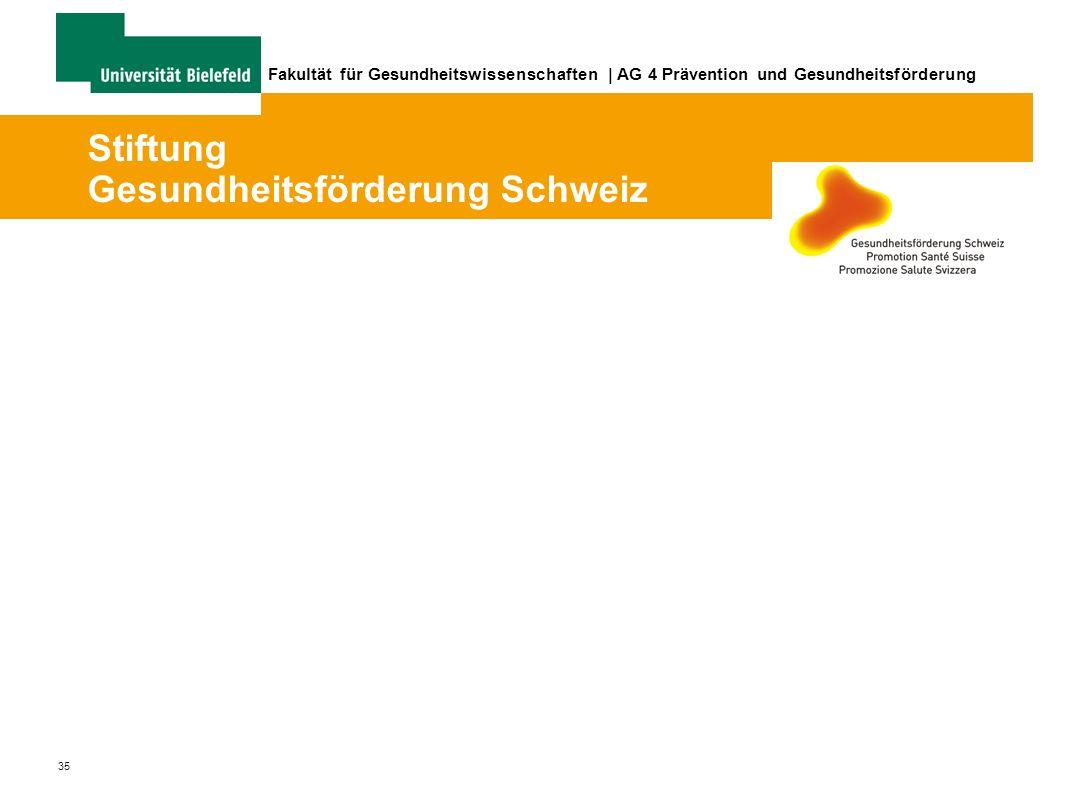 35 Fakultät für Gesundheitswissenschaften | AG 4 Prävention und Gesundheitsförderung Stiftung Gesundheitsförderung Schweiz
