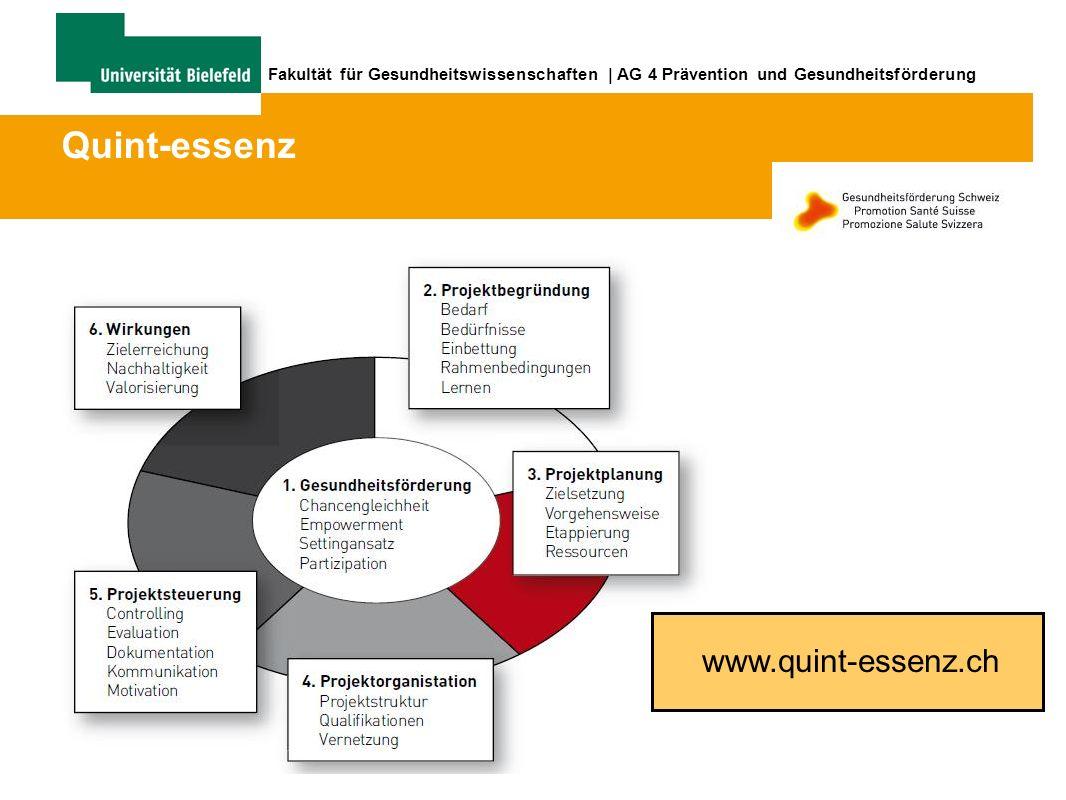 Fakultät für Gesundheitswissenschaften | AG 4 Prävention und Gesundheitsförderung www.quint-essenz.ch Quint-essenz