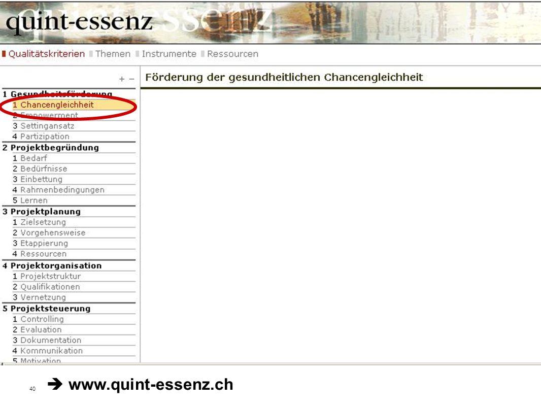 40 Fakultät für Gesundheitswissenschaften | AG 4 Prävention und Gesundheitsförderung Qualitätskriterien der Stiftung Gesundheitsförderung Schweiz www.quint-essenz.ch