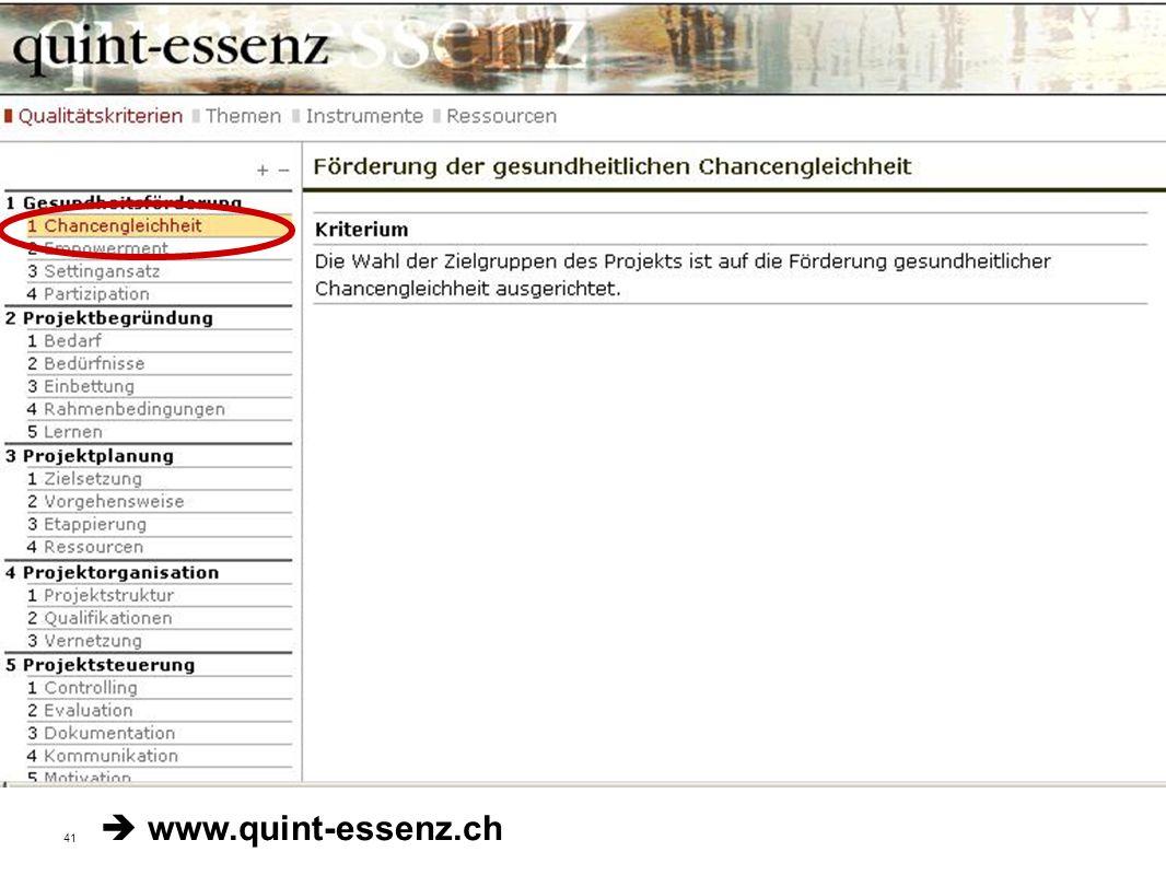 41 Fakultät für Gesundheitswissenschaften | AG 4 Prävention und Gesundheitsförderung Qualitätskriterien der Stiftung Gesundheitsförderung Schweiz www.quint-essenz.ch