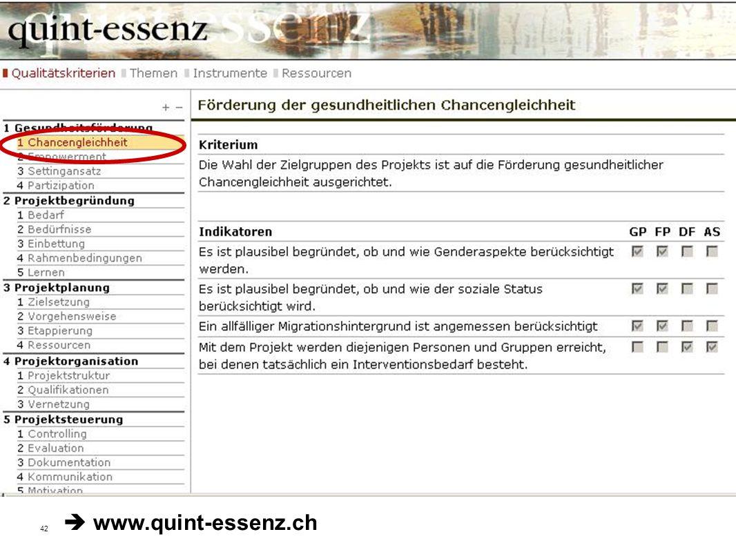 42 Fakultät für Gesundheitswissenschaften | AG 4 Prävention und Gesundheitsförderung Qualitätskriterien der Stiftung Gesundheitsförderung Schweiz www.quint-essenz.ch