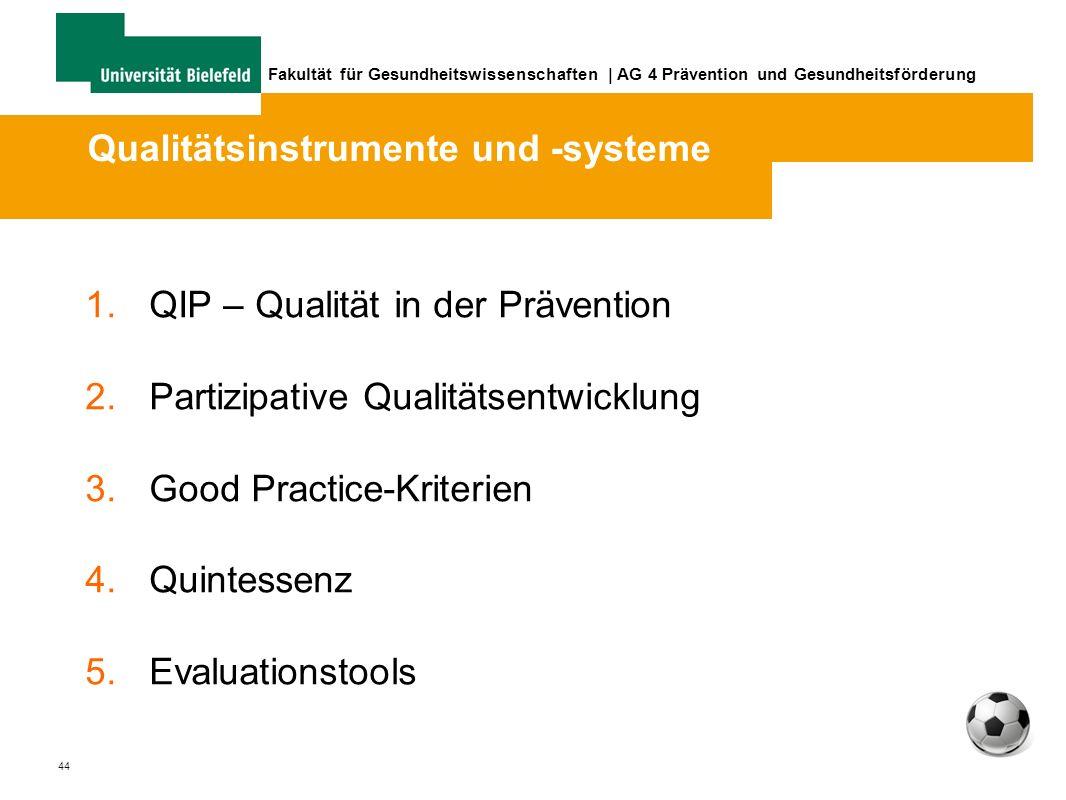 44 Fakultät für Gesundheitswissenschaften | AG 4 Prävention und Gesundheitsförderung 1.QIP – Qualität in der Prävention 2.Partizipative Qualitätsentwicklung 3.Good Practice-Kriterien 4.Quintessenz 5.Evaluationstools Qualitätsinstrumente und -systeme