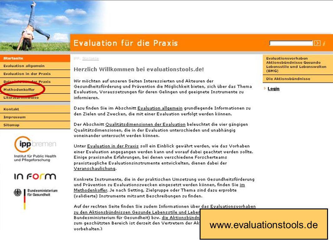 Fakultät für Gesundheitswissenschaften | AG 4 Prävention und Gesundheitsförderung www.evaluationstools.de
