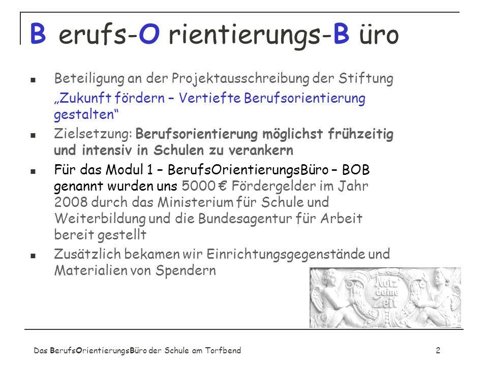 Das BerufsOrientierungsBüro der Schule am Torfbend2 B erufs-O rientierungs-B üro Beteiligung an der Projektausschreibung der Stiftung Zukunft fördern
